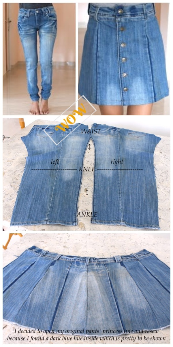8dc625deed Stylish Ways to Alter Old Jeans into New Fashion- DIY Turn Jean into Button  Front