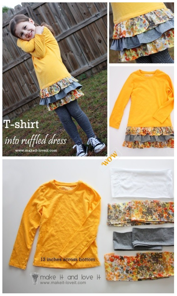 Chic T-shirt Refashion Ideas with DIY Tutorials-DIY Long Sleeved Tee into Ruffled Dress Tutorial