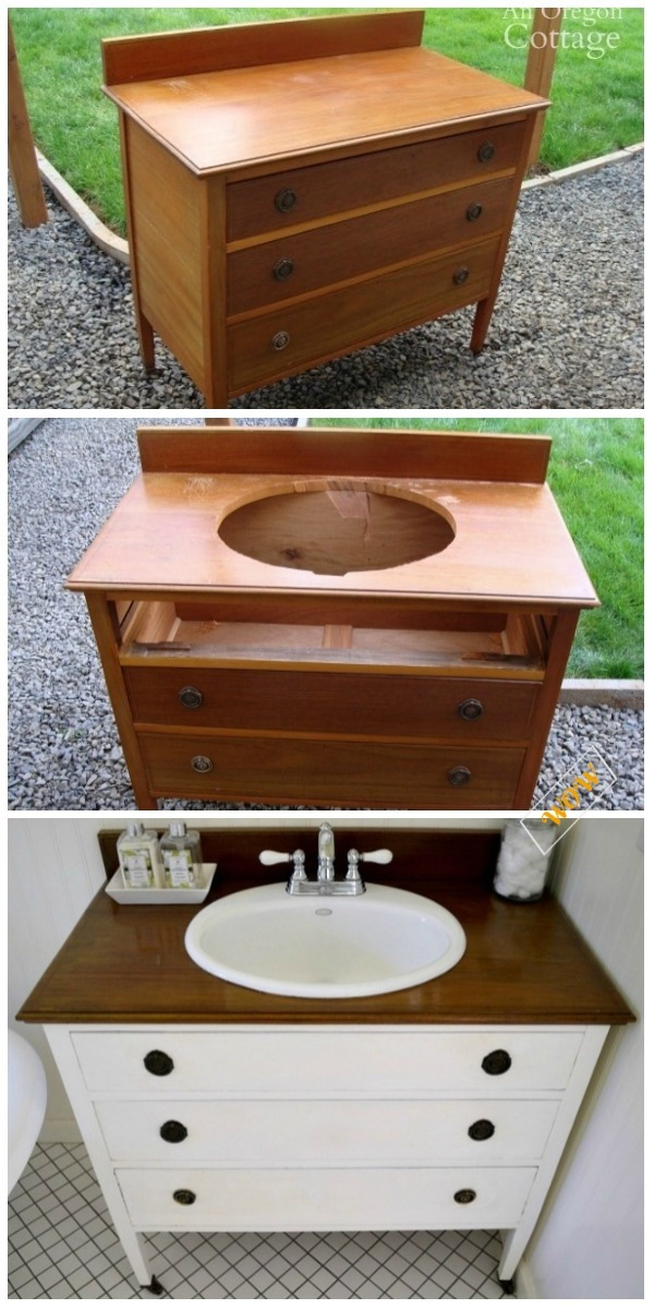 Old Dresser Makeover Ideas Diy Tutorials Turn Dresser Into Bathroom Vanity Tutorial Wow Thumbs Up