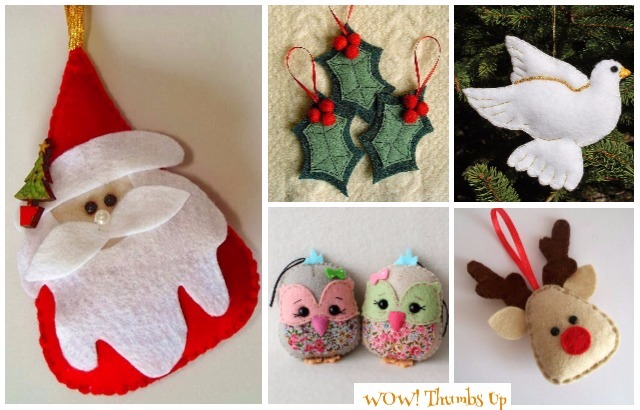 DIY Felt Christmas Ornament Craft Ideas Tutorials
