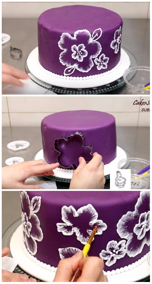 DIY Brush Embroidery Cake Icing Video
