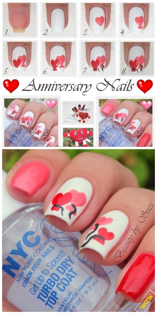 Valentine Nail Art Diy Ideas Tutorials Diy Anniversary Heart Nail