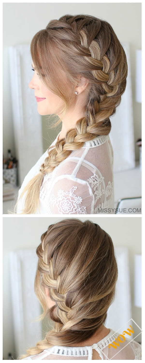 Side French Braid DIY Stunning French Braid Hairstyles -Side French Braid Hairstyle Tutorial