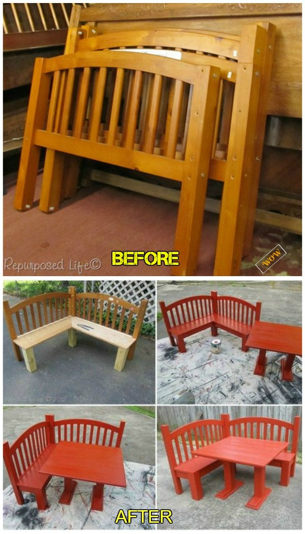 Diy Repurposed Headboard Corner Bench Tutorials