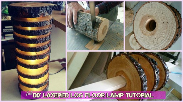 DIY Layered Log Floor Lamp Tutorial