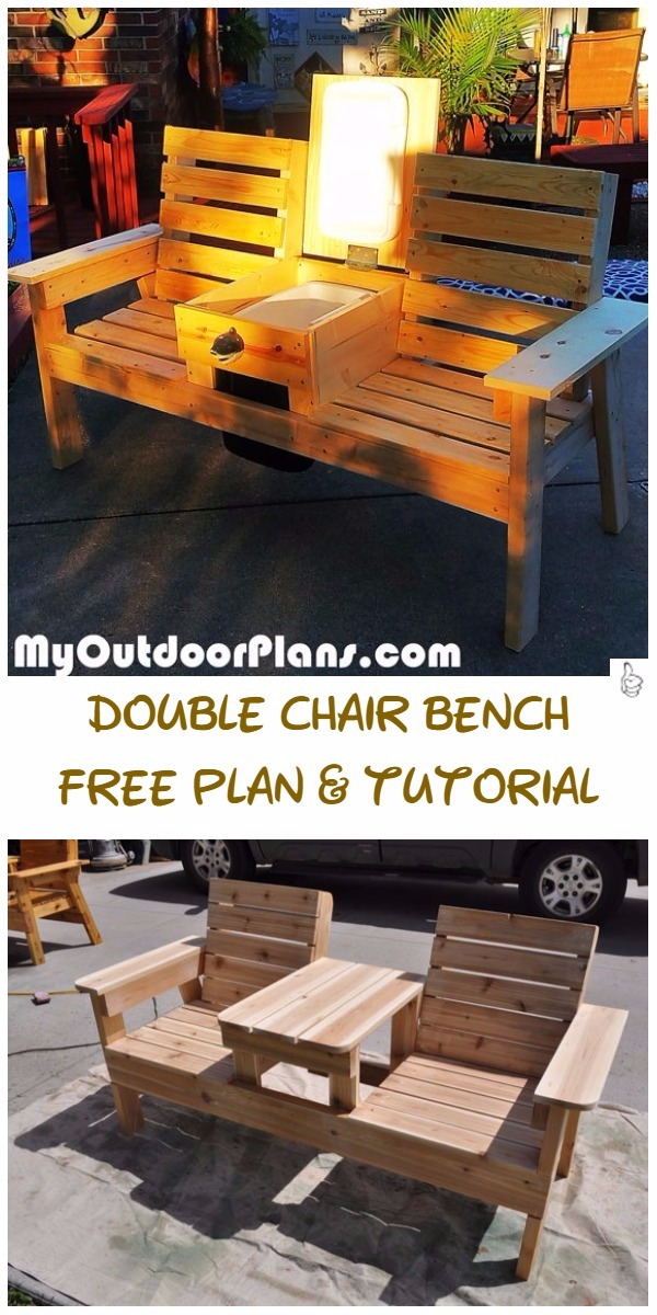 DIY Outdoor Seating Projects Tutorials   DIY Double Chair Bench With Table  Tutorial