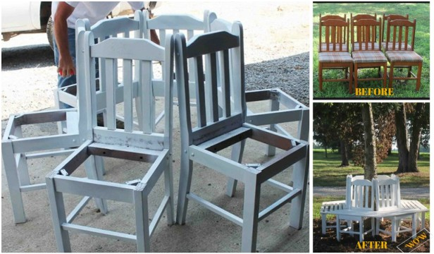 DIY Recycled Chair Tree Bench Tutorial